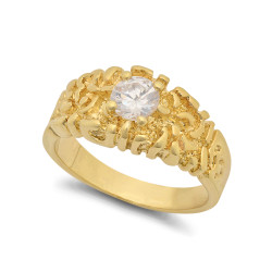 14k Gold Plated 12mm Chunky Nugget w/Round Clear CZ Solitaire Ring + Microfiber