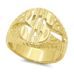 Wide 17mm 14k Gold Plated Cash Money Dollar Sign Pinky Ring + Microfiber