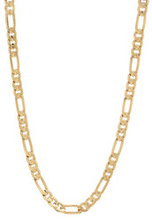 4.9mm 14k Yellow Gold Plated Flat Figaro Chain Necklace