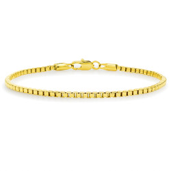 2.3mm High-Polished 0.25 mils (6 microns) 14k Yellow Gold Plated Square Box Chain Bracelet, 7'-9 + Jewelry Cloth & Pouch