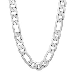 10mm Polished Silver Plated Brass Flat Figaro Chain Necklace, 20'-40 + Jewelry Cloth & Pouch