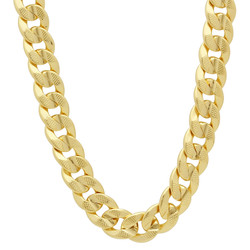 9mm 14k Yellow Gold Plated Flat Cuban Link Curb Chain Necklace