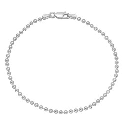 2mm Solid .925 Sterling Silver Ball Military Ball Chain Bracelet