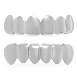 Removable Top/Bottom Teeth Grillz Set (24k Gold Plated or Rhodium Plated) + Polishing Cloth