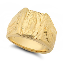 Large 15mm 14k Yellow Gold Plated Guadalupe Virgin Mary Triptych Ring + Microfiber