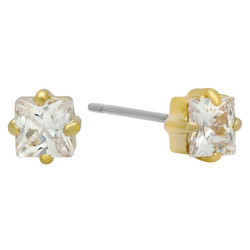 4mm Square Cut Cubic Zirconia Gold Plated Stud Earrings + Microfiber