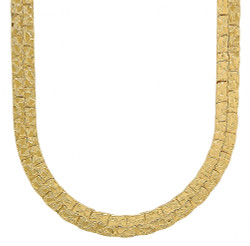 7.5mm 14k Yellow Gold Plated Flat Nugget Chain Necklace