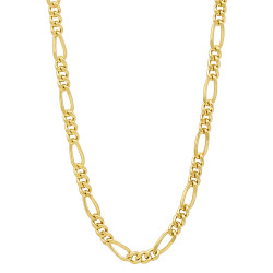 3mm 24k Yellow Gold Plated Flat Figaro Chain Necklace + Bracelet Set