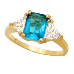 Gold Plated Emerald-Cut Turquoise Blue CZ Three-Stone Ring + Microfiber