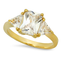 Gold Plated Emerald-Cut Crystal-Clear Clear CZ Three-Stone Ring + Microfiber