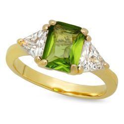 Gold Plated Emerald-Cut Chartreuse Green CZ Three-Stone Ring + Microfiber