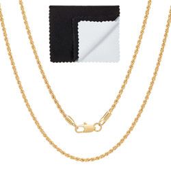 2mm High-Polished 0.25 mils (6 microns) 14k Yellow Gold Plated Round Rope Chain Necklace, 16'-30 + Jewelry Cloth & Pouch