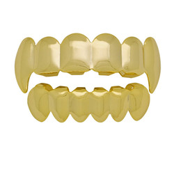 24k Gold Plated Vampire Fang Removable Top & Bottom Teeth Grillz Set + Polishing Cloth
