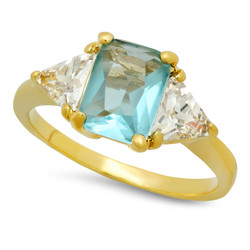 Gold Plated Emerald-Cut Light Teal Blue CZ Three-Stone Ring + Microfiber