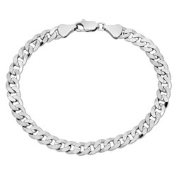 6.3mm Rhodium Plated Flat Curb Chain Bracelet