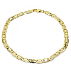 5.1mm Polished 0.25 mils (6 microns) 14k Yellow Gold Plated Flat Mariner Chain Anklet, 10 inches + Jewelry Cloth & Pouch