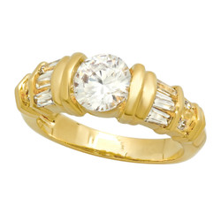 Gold Plated Round CZ Solitaire Ring w/Baguette/Round CZ Accents + Microfiber