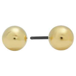 5mm Yellow Gold Plated Ball Stud Earrings + Microfiber