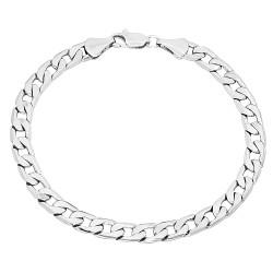 6mm Rhodium Plated Beveled Curb Chain Bracelet