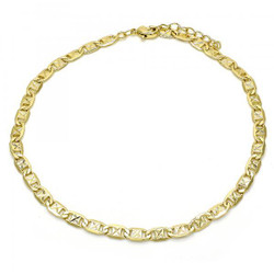 4.2mm Diamond-Cut 0.25 mils (6 microns) 14k Yellow Gold Plated Flat Chain Anklet, 11 inches + Jewelry Cloth & Pouch