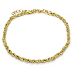 3.8mm Polished 0.25 mils (6 microns) 14k Yellow Gold Plated Twisted Rope Chain Anklet, 11 inches