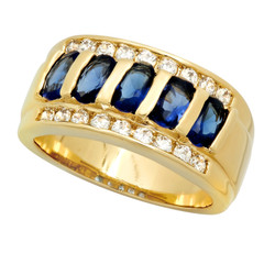 Gold Plated Channel Set Blue Oval & Clear Round CZs Band Ring + Microfiber
