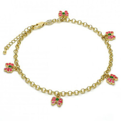 3.9mm Polished 0.25 mils (6 microns) 14k Yellow Gold Plated Round Charm Anklet, 11 inches + Jewelry Cloth & Pouch