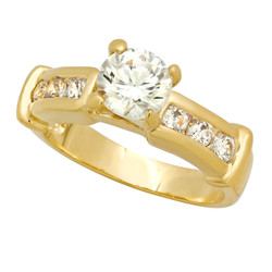 Gold Plated Round CZ Solitaire Ring w/Channel Set Round CZs + Microfiber