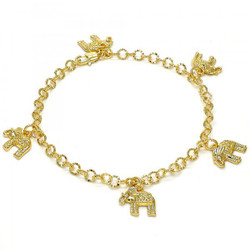 5.2mm Diamond-Cut 0.25 mils (6 microns) 14k Yellow Gold Plated Charm Anklet, 10 inches + Jewelry Cloth & Pouch
