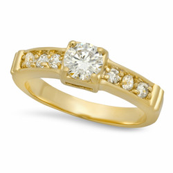 5.5mm Gold Plated Small Round CZ Solitaire Ring w/CZ Band + Microfiber