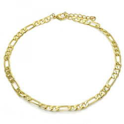 4.3mm Polished 0.25 mils (6 microns) 14k Yellow Gold Plated Flat Figaro Chain Anklet, 11 inches + Jewelry Cloth & Pouch