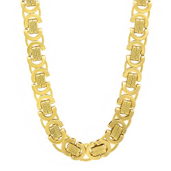 9mm 0.16 mils (4 microns) 14k Yellow Gold Plated Byzantine Chain Necklace, 20'-40 + Jewelry Cloth & Pouch