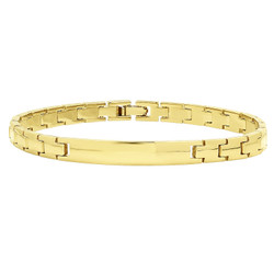 7mm Smooth 14k Yellow Gold Plated Engravable ID Solid Link Bracelet + Microfiber