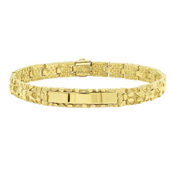 8mm 14k Yellow Gold Plated Chunky Nugget Textured ID Link Bracelet + Microfiber