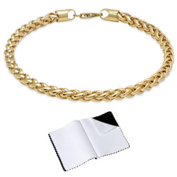 5mm 14k Yellow Gold Plated Braided Wheat Chain Bracelet