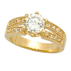 Gold Plated Round CZ Solitaire Ring w/Dual Rows of Accent CZs + Microfiber