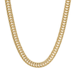6mm 14k Yellow Gold Plated Square Franco Chain Necklace