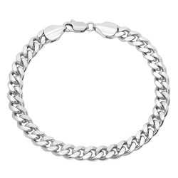 7mm 0.25 mils (6 microns) Rhodium Plated Brass Beveled Curb Chain Necklace, 7'-30 + Jewelry Cloth & Pouch