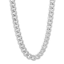 7mm Rhodium Plated Beveled Curb Chain Necklace