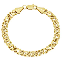 7.4mm 14k Yellow Gold Plated Cable Venetian Chain Bracelet