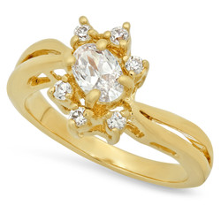 12mm Gold Plated Ring w/Oval CZ Stone Framed by Round CZs + Microfiber