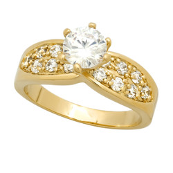 7mm Gold Plated Round CZ Solitaire Ring w/CZ Accented Band + Microfiber