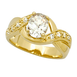 Gold Plated Oval CZ Solitaire Ring w/CZ Accent Crisscross Band + Microfiber