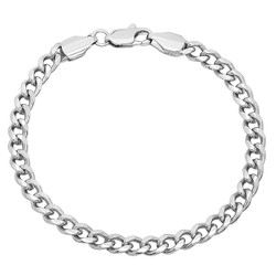 5mm High-Polished 0.25 mils (6 microns) Rhodium Plated Flat Beveled Curb Chain Necklace, 7'-30