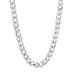 5mm Rhodium Plated Beveled Curb Chain Necklace