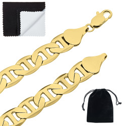 12mm High-Polished 0.25 mils (6 microns) 14k Yellow Gold Plated Flat Mariner Chain Necklace