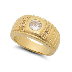 Large 23mm 14k Gold Plated Notched CZ Band w/Round CZ Solitaire Ring + Microfiber
