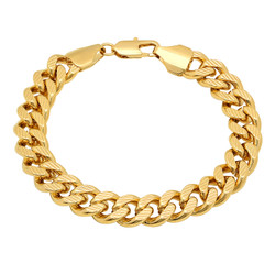 11mm 0.25 mils (6 microns) 14k Yellow Gold Plated Curb Miami Cuban Link Chain Necklace, 7'-30 + Jewelry Cloth & Pouch