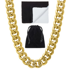 11mm 14k Yellow Gold Plated Flat Miami Cuban Link Chain Necklace