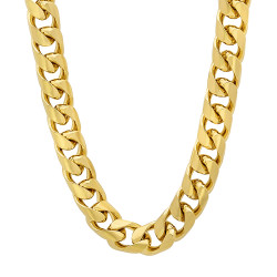 9.3mm 14k Yellow Gold Plated Flat Miami Cuban Link Chain Necklace